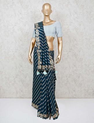 Leheriya navy cotton silk saree