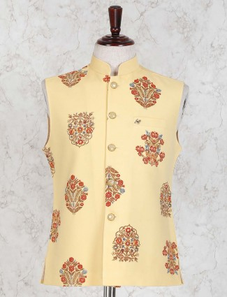 Lemon yellow color party wear waistcoat