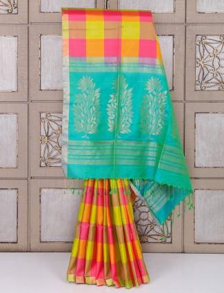 Lemon yellow color silk checks pattern saree