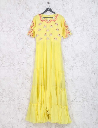 Lemon yellow colored cotton fabric kurti for festive