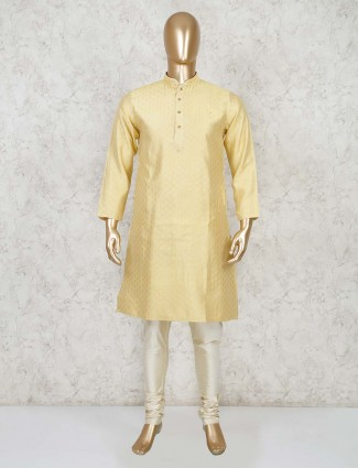 Lemon yellow cotton festive wear kurta suit