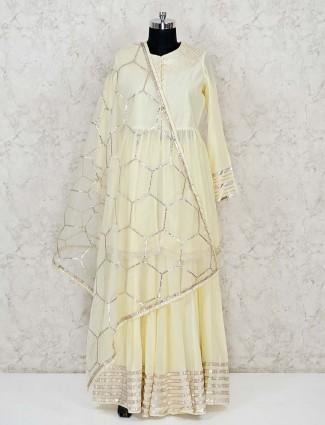 Lemon yellow cotton punjabi kameez with lehenga