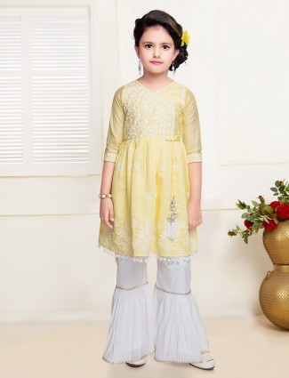 Lemon yellow cotton sharara suit for girls