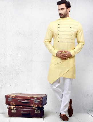 Lemon yellow cotton wear solid kurta suit