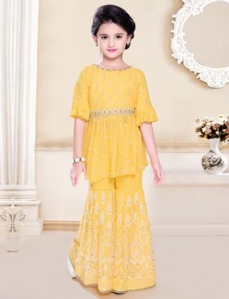 Lemon yellow georgette punjabi palazzo suit