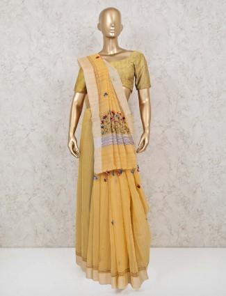 Lemon yellow handloom cotton wedding saree