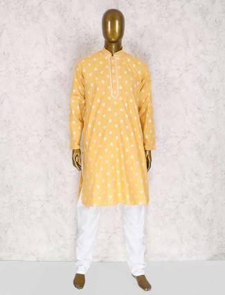Lemon yellow kurta suit for party