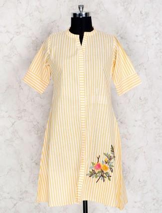 Lemon yellow stripe pattern cotton kurti