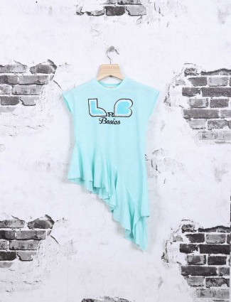 Leo N Babes aqua cotton fabric casual top