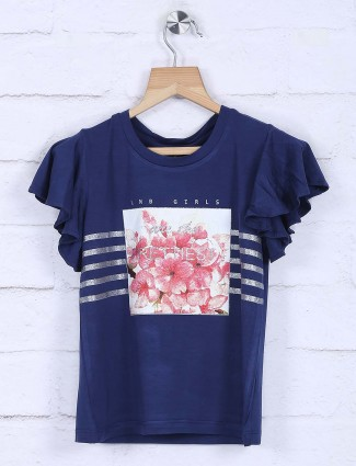 Leo N Babes cotton fabric blue casual top
