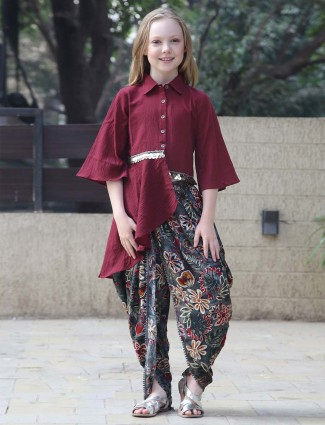 Leo N Babes maroon hue pretty cotton dhoti suit