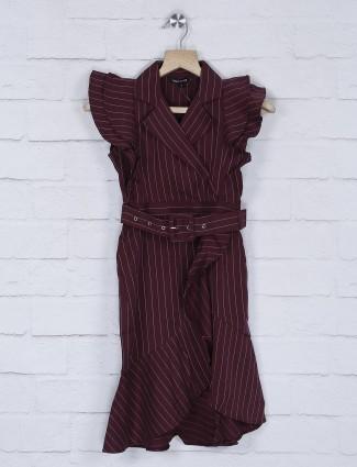 Leo N Babes maroon stripe pattern ruffle style frock