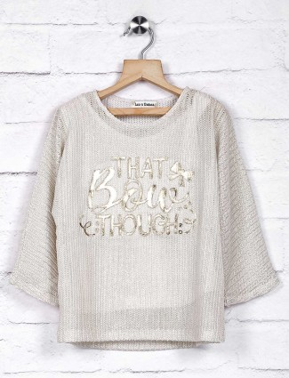 Leo N Babes off white knitted top