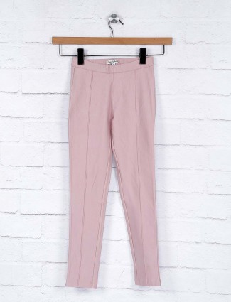 Leo N Babes pink hue solid cotton casual jeggings