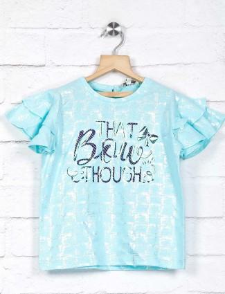 Leo N Babes printed aqua pretty top