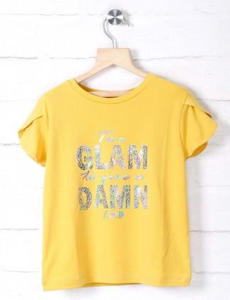 Leo N Babes printed girls yellow top