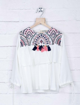 Leo N Babes white top in georgette