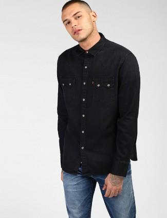 Levis black denim shirt