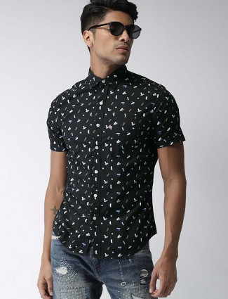 Levis black slim fit printed shirt