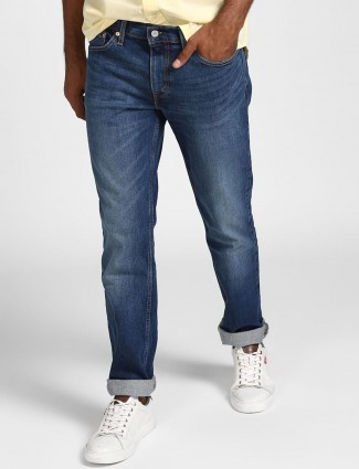 Levis blue solid slim fit faded jeans