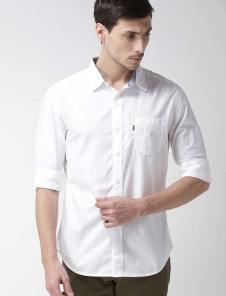 Levis casual solid white hued shirt