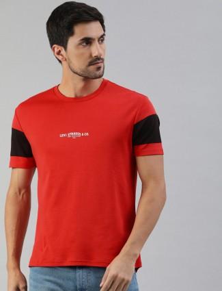 Levis cotton orange printed t-shirt