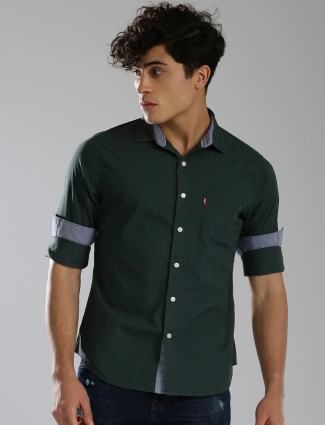 Levis green plain cotton shirt
