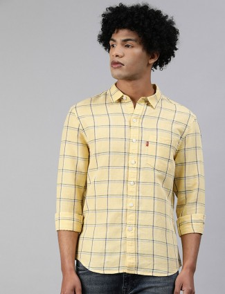 Levis presented yellow linen checks shirt