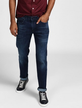 Levis solid dark blue colored jeans
