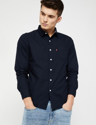 Levis solid navy cotton shirt