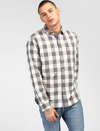 Levis white and grey checks shirt