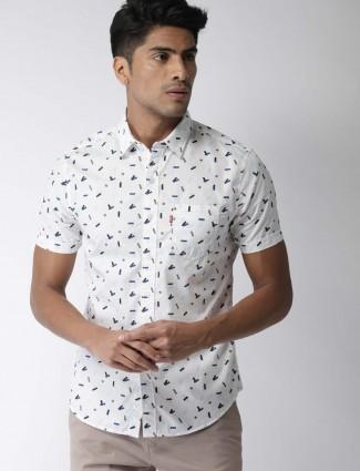 Levis white printed cotton shirt