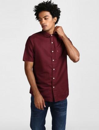 Levis wine maroon color cotton shirt