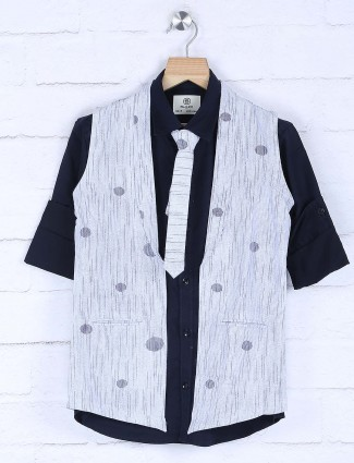 Light blue and navy printed waistcoat shirt