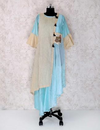 Light blue color cotton silk sharara suits