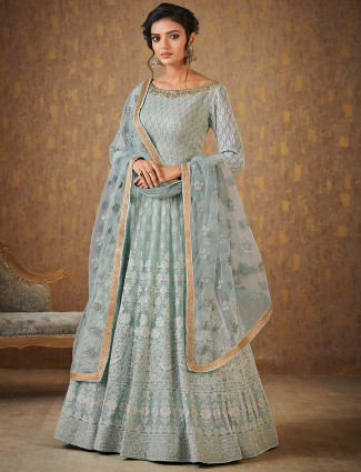 Light blue color floor length anarkali suit in georgette