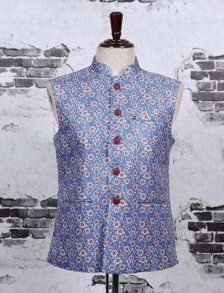 Light blue color prinetd waistcoat