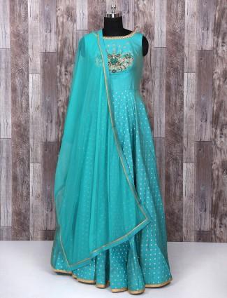 Light blue color silk anarkali suit for festive function
