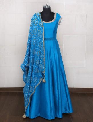 Light blue color silk wedding anarkali suit