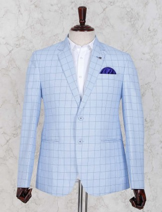 Light blue colored checks party wear blazer