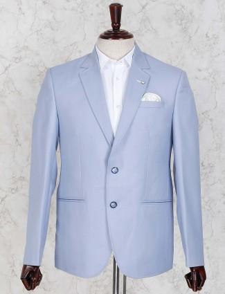 Light blue colored solid terry rayon blazer