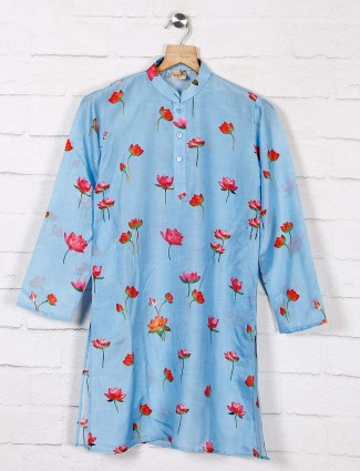 Light blue cotton kurta suit in printed