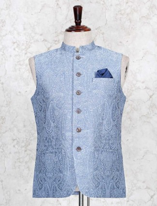 Light blue cotton thread woven waistcoat