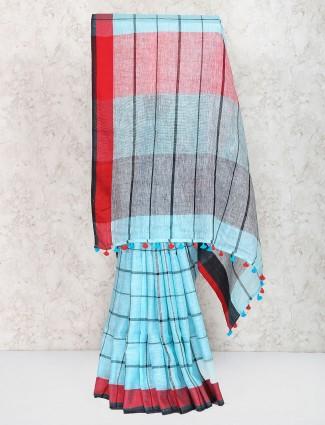 Light blue festive saree in checks pattern