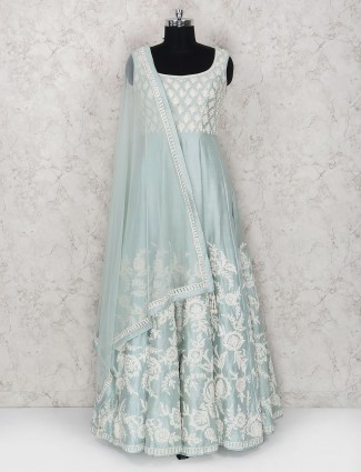 Light blue floor length anarkali suit in raw silk