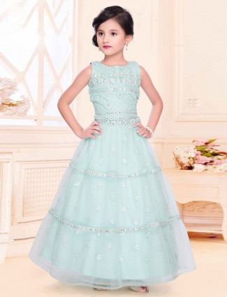 Light blue net lehenga choli for girls