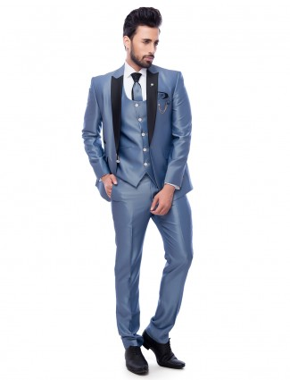 Light blue party wear coat suit in terry rayon fabric.