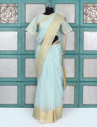 Light blue party wear organza tissue fabric party wear saree