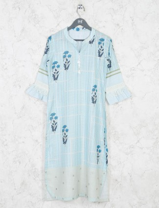 Light blue printed chinese neck kurti