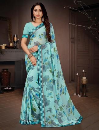 Light blue printed saree in georgettte